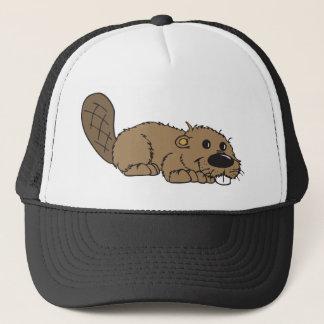 Cute Cartoon Beaver Lying Down Trucker Hat