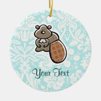 Cute Cartoon Beaver Round Ceramic Decoration