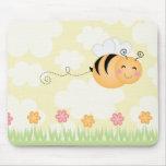 Cute cartoon bee and hive flowers mousepad
