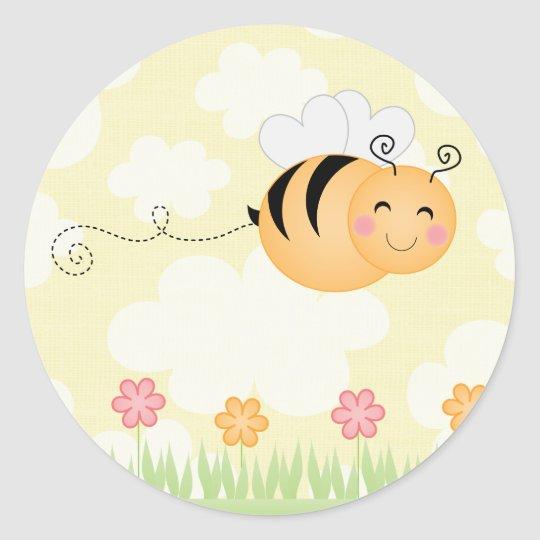 Cute cartoon bee and hive flowers sticker