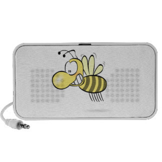 Cute Cartoon Bee Buzzing Around with Grin on Face Notebook Speaker