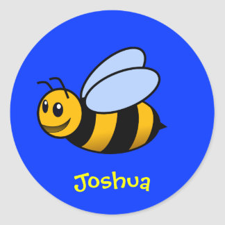 Cute Cartoon Bee Personalized Name Gift Classic Round Sticker