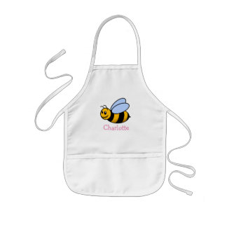 Cute cartoon bee personalized with childs name kids apron