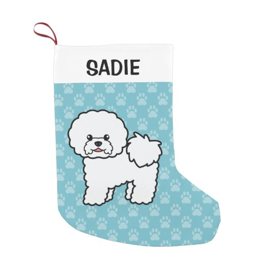 Cute Cartoon Bichon Frise Dog Small Christmas Stocking