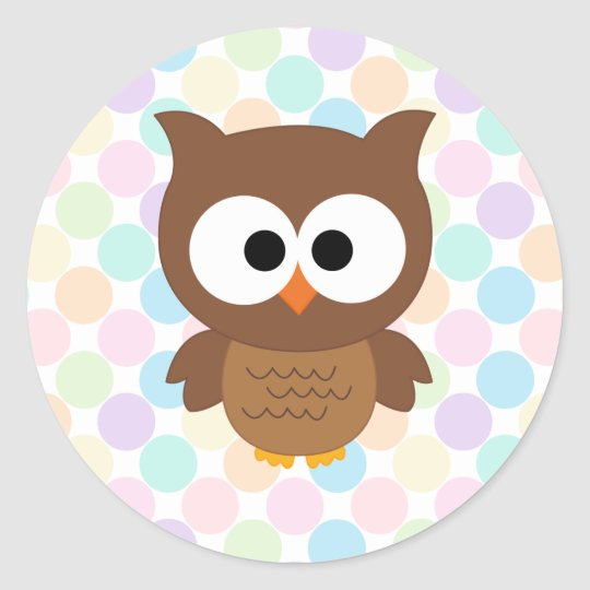 Cute Cartoon Big Eyed Brown Owl Round Sticker