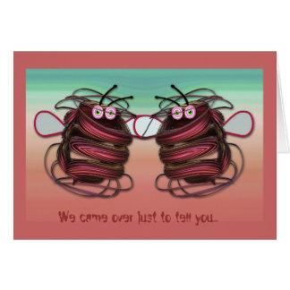 Cute cartoon Birthday card Alien bees with text