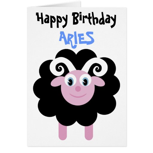 Cute Cartoon Birthday Zodiac Aries Ram Greeting Card