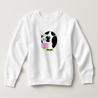 Cute cartoon black and white cow eating a flower, sweatshirt