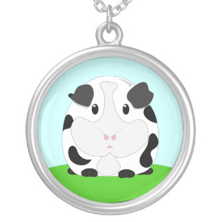 Cute Cartoon Black and White Guinea Pig Silver Plated Necklace