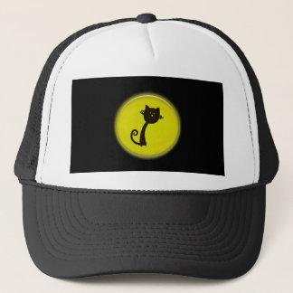 Cute Cartoon Black Cat in Yellow Circle Trucker Hat