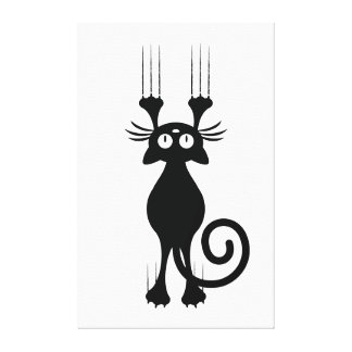 Cute Cartoon Black Cat Scratching Stretched Canvas Prints