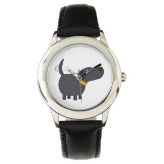 Cute Cartoon Black Labrador Watch