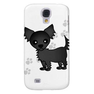 Cute Cartoon Black Long-haired Chihuahua Samsung Galaxy S4 Covers