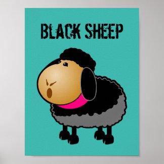 Cute Cartoon Black Sheep Drawing Poster