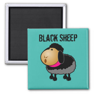 Cute Cartoon Black Sheep Drawing Square Magnet
