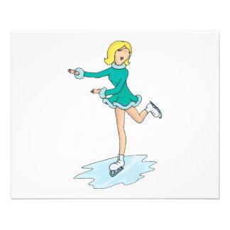 cute cartoon blonde girl figure skating 11.5 cm x 14 cm flyer