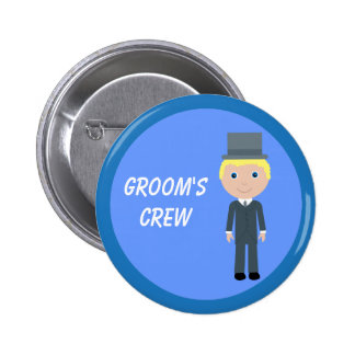 Cute Cartoon Blonde Groom's Crew Bachelor Party Pinback Buttons