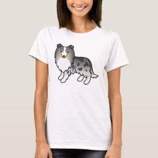Cute Cartoon Blue Merle Shetland Sheepdog T-Shirt