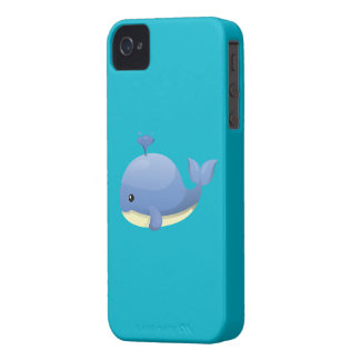 Cute Cartoon Blue Whale Spouting Water Case-Mate iPhone 4 Cases