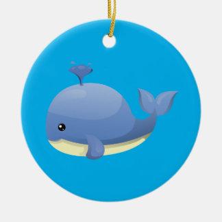 Cute Cartoon Blue Whale Spouting Water Round Ceramic Decoration