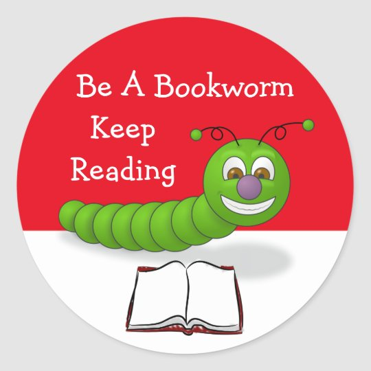 Cute Cartoon Bookworm Keep Reading Literacy Classic Round