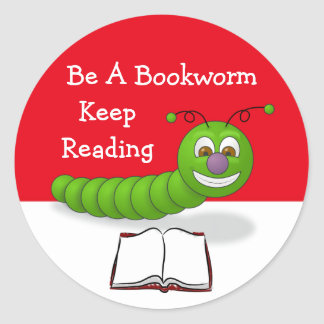 Cute Cartoon Bookworm Keep Reading Literacy Round Sticker