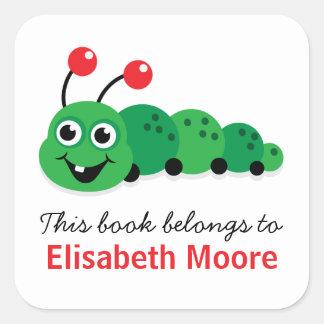 Cute cartoon bookworm personalised bookplate square sticker