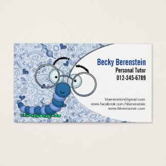 Cute Cartoon Bookworm Tutor Blue Business Card