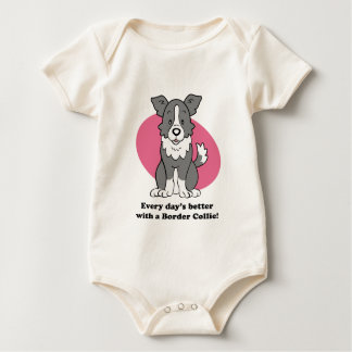 Cute Cartoon Border Collie Baby Tee