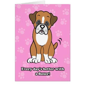 Cute Cartoon Boxer Greeting Card
