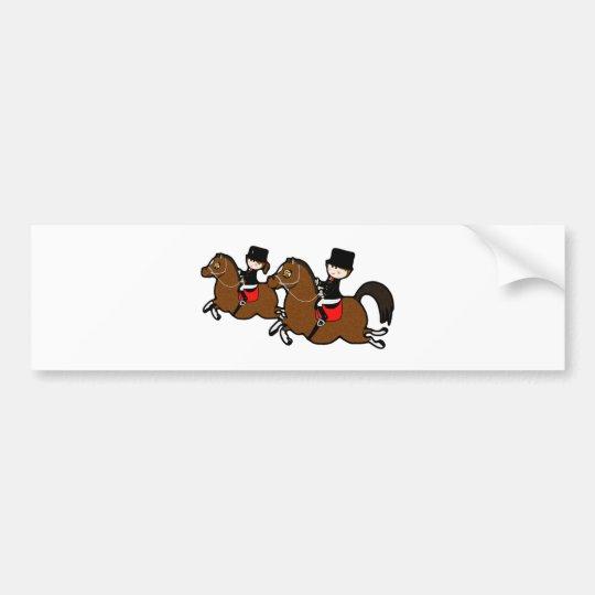 Cute cartoon boy girl riding dressage horses bumper sticker