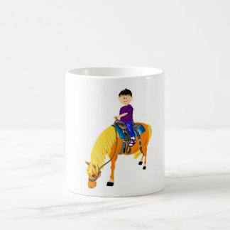 Cute cartoon boy riding horse pony cartoon gfits coffee mug