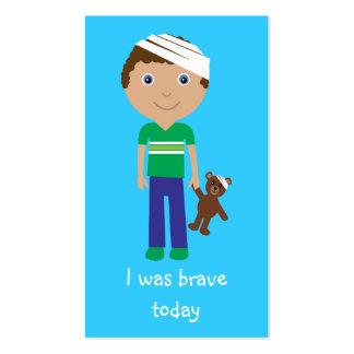 Cute Cartoon Boy & Teddy Bear Bravery Bookmarks Business Card Template