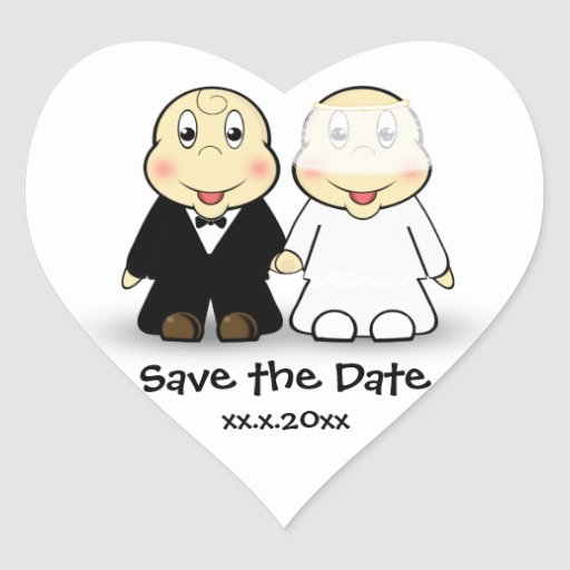 Cute Cartoon Bride and Groom Couple Save the Date Stickers