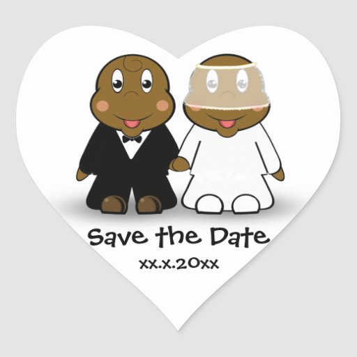 Cute Cartoon Bride and Groom Couple Save the Date Heart Sticker