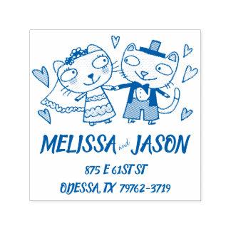 cute cartoon bride and groom wedding cats self-inking stamp