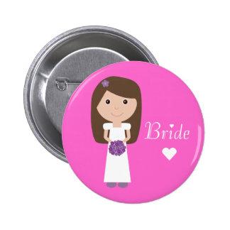 Cute Cartoon Bride Pinback Buttons