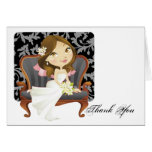 Cute Cartoon Bride Bridal Shower Thank You Stationery Note Card