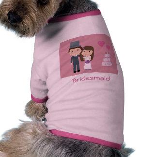 Cute Cartoon Bride Groom Bridesmaid Dog Sweater Doggie Tee Shirt