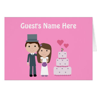 Cute Cartoon Bride Groom & Cake Pink Seating Card