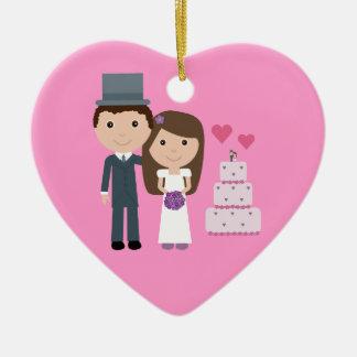 Cute Cartoon Bride & Groom Customizable Pink Heart Ceramic Heart Decoration
