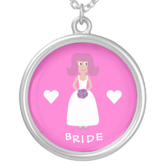 Cute Cartoon Bride & Hearts Customizable Pink Silver Plated Necklace