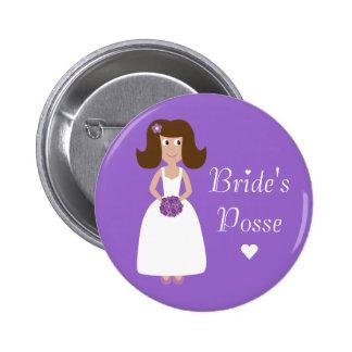 Cute Cartoon Bride's Posse Bachelorette Party Buttons