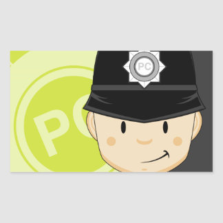 Cute Cartoon British Policeman Rectangular Sticker