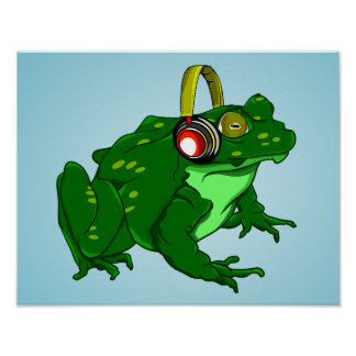 Cute Cartoon Bullfrog Wearing Headphones Poster