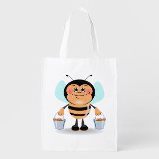 Cute Cartoon Bumble Bee Carrying Buckets of Honey