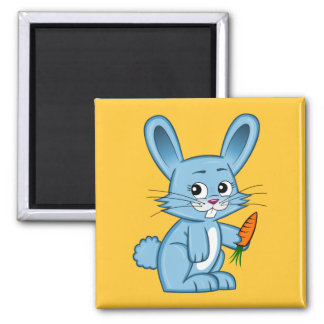 Cute Cartoon Bunny Holding Carrot Square Magnet