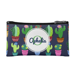 Cute Cartoon Cactus & Monogram w/ Name Cosmetic Bag
