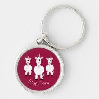 Cute Cartoon Capricorn Zodiac Goats Customizable Key Ring