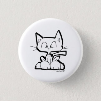 cute cartoon cat button by Chris Desatoff
